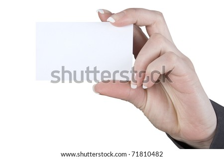 a card blank in a woman's hand - stock photo