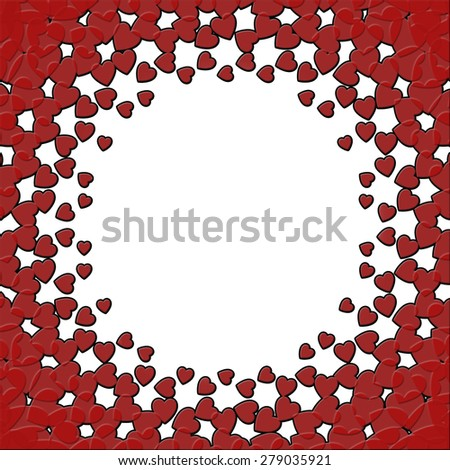 A card design with deep red hearts on a white background with center circle area for copy space - stock photo