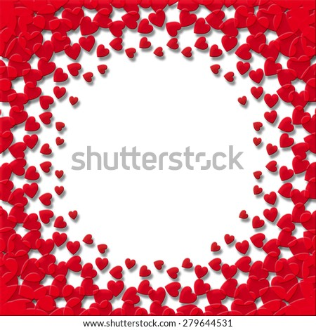 A card design with vibrant red hearts on a white background circle area for copy space in the center - stock photo