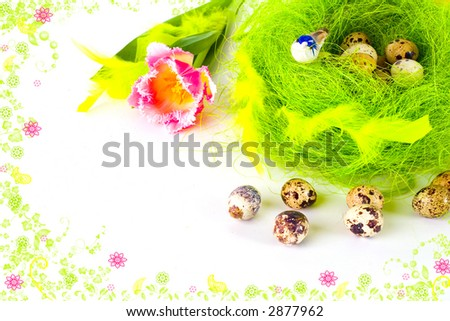 A card of ester eggs in the nest framed by rendered flowers - stock photo