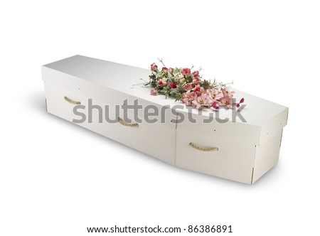 a cardboard; bio-degradable; eco; coffin; isolated; clipping path; box; case; casket; cemetery; closed; dead; death; eternity; funeral; grave; object ; white background; green; ethical,economical - stock photo