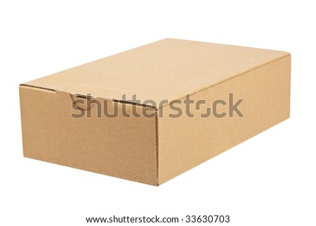A cardboard box,  isolated on white background. Shallow depth of field