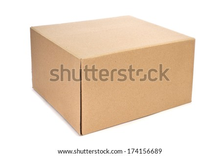 a cardboard box on a white background