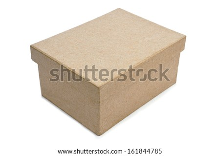 a cardboard box with lid on a white background - stock photo