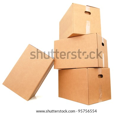 A cardboard boxes stacking - stock photo