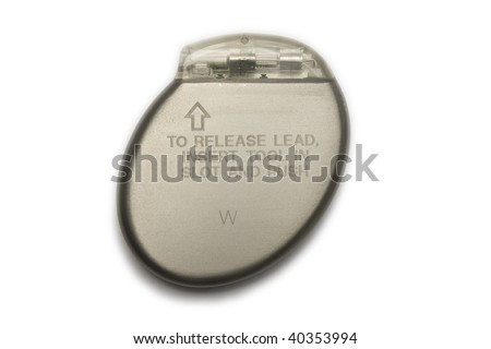 A cardiac pacemaker in a isolated white background - stock photo