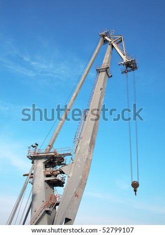 A Cargo Crane in the port - stock photo