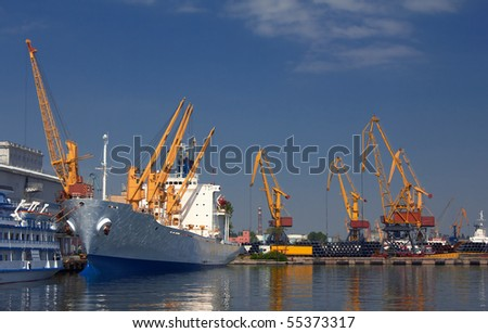 A cargo ship docked in the port