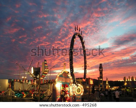 A carnival at sunset