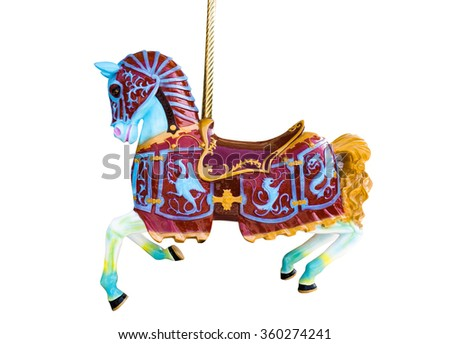 A Carousel Horse Isolated on White Background - stock photo