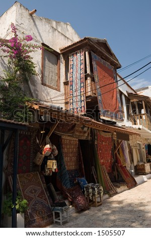 A carpet shop in Kas, Turkey, in a typical old Ottoman building. - stock photo