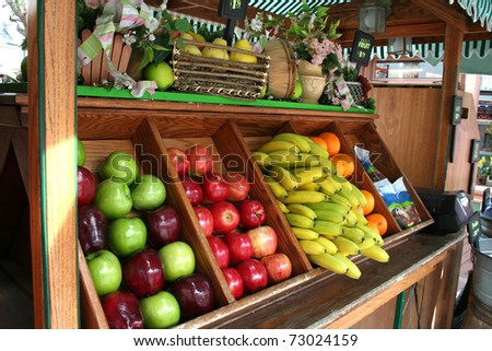 a cart full of fresh fruits