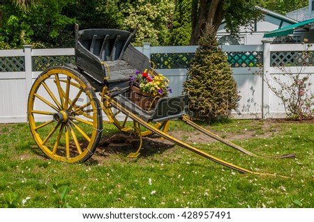 A cart with flowers in Newport, Rhode Island.