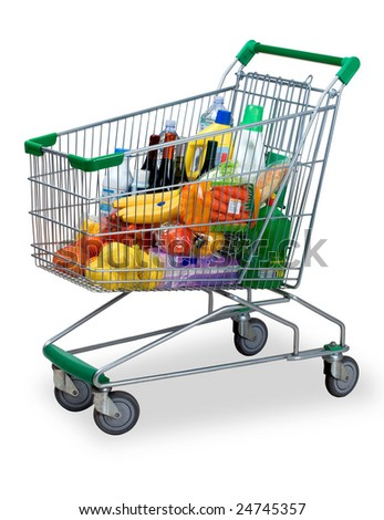 a cart with the shopping of the supermarket - stock photo
