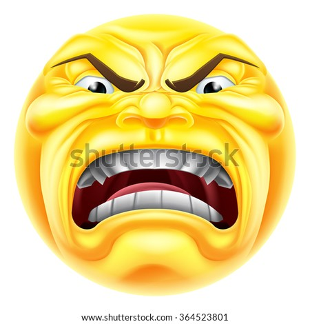 A cartoon angry emoji emoticon icon character - stock photo