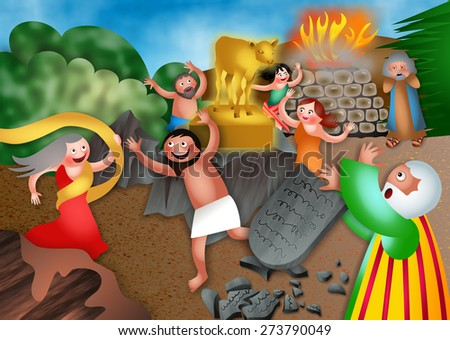 A cartoon biblical illustration depicting the children of israel worshiping the golden calf. Moses returns from the mountain and breaks the tablets in anger.