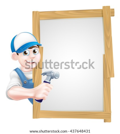 A cartoon carpenter or builder holding a hammer tool and peeking around a sign - stock photo