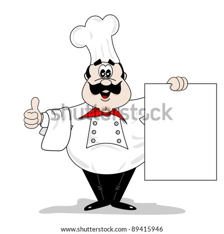 A cartoon chef cook holding a blank recipe menu board with copy space