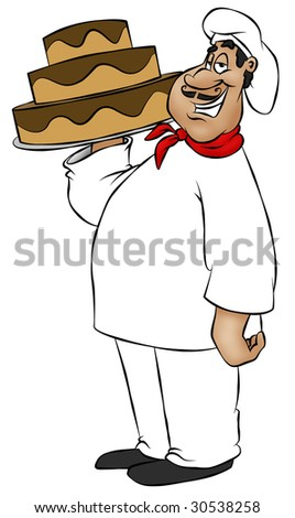 A cartoon chef showing off his newly baked cake.