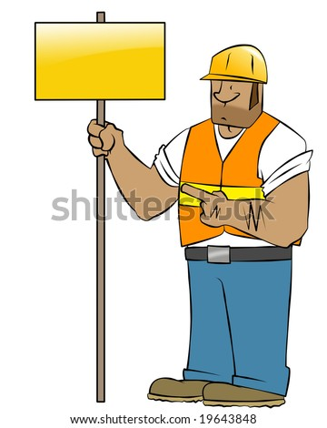 A cartoon construction worker holding a sign. He looks like he means business. - stock photo