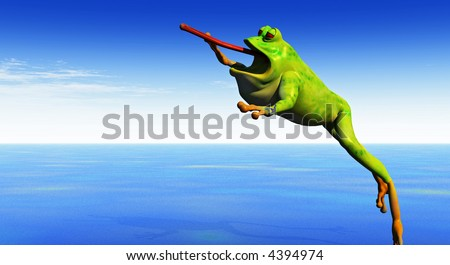 a cartoon 3d frog leaps into the air with tongue extended - stock photo
