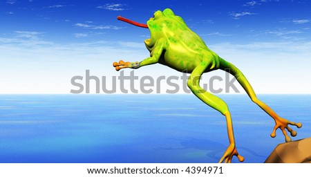 a cartoon 3d frog leaps with tongue extended - stock photo