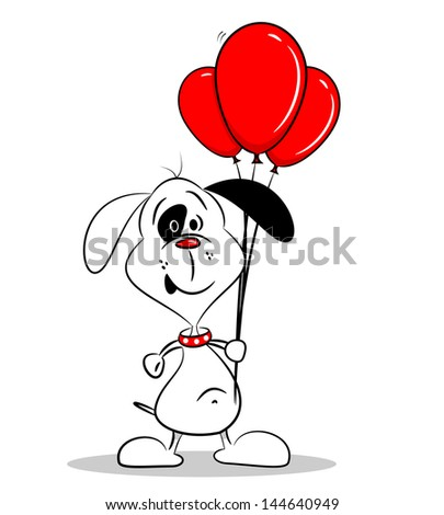A cartoon dog holding a bunch of red balloons on a white background