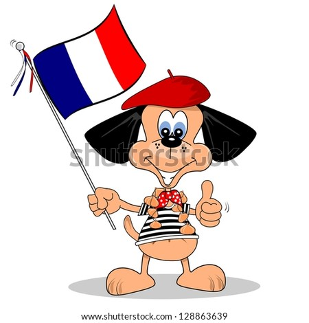 A cartoon dog holding the French flag