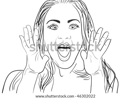 A cartoon drawing of a surprised or amazed woman. - stock photo