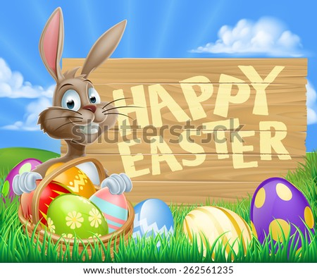 A cartoon Easter Bunny with a basket of Easter eggs next to a wooden sign