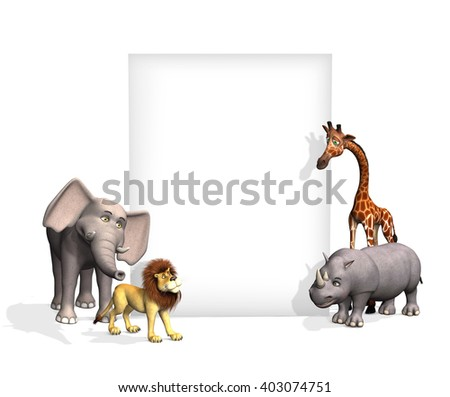 A cartoon elephant, lion, giraffe and rhinoceros are standing beside a blank sign - 3D render. - stock photo