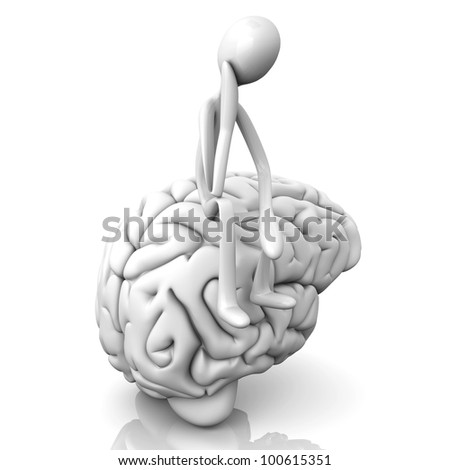 A cartoon figure con a huge brain. 3D rendered illustration. Isolated on white. - stock photo