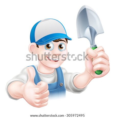 A cartoon gardener character holding a garden trowel and giving a thumbs up - stock photo