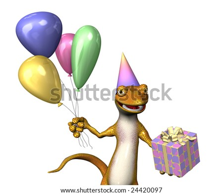 A cartoon gecko is celebrating a birthday - 3d render.