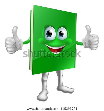A cartoon green thumbs up book mascot man education concept - stock photo