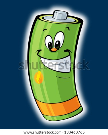 A cartoon happy smiling green battery glowing - stock photo