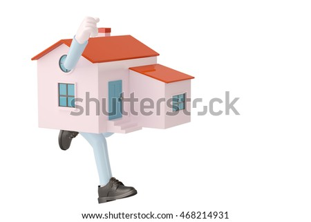 A cartoon house in the running.3D illustration.