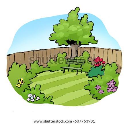 Cartoon Illustration Back Garden Stock Illustration 607763981 ...