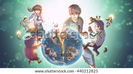 A cartoon illustration of a great powerful Asian man or super hero god smashing the earth into pieces with earthling people reborn into angels in destructive hero god concept