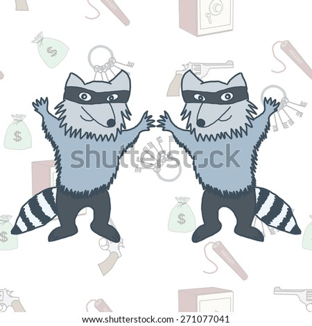 A cartoon illustration of a raccoons robbers in a mask on the seamless background - stock photo