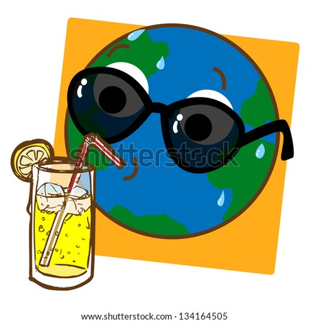 A cartoon like stylized illustration of the planet Earth drinking ice cold lemonade! - stock photo