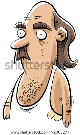 A cartoon man in a white undershirt with sweat stains. - stock photo