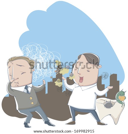 A cartoon man is repelled by the bad breath of another man. - stock photo