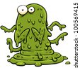 A cartoon monster made of green slime. - stock photo