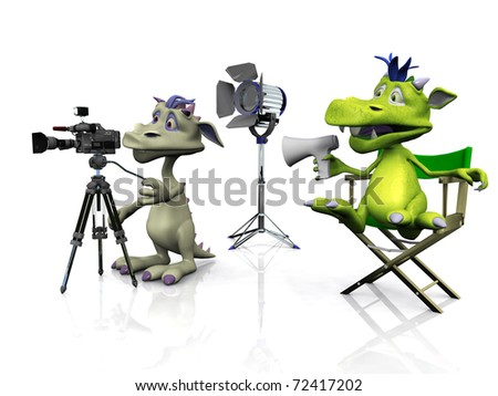 A cartoon monster sitting in a directors chair and another mouse filming. White  background. - stock photo