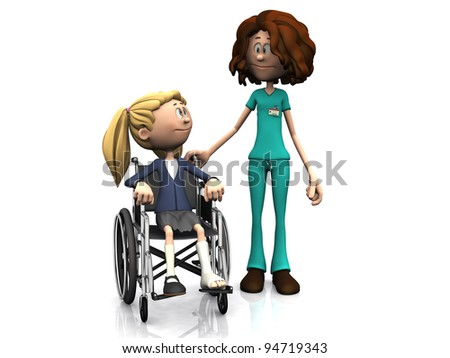 A cartoon nurse standing beside a young girl sitting in a wheelchair. The girl has a broken leg. White background.