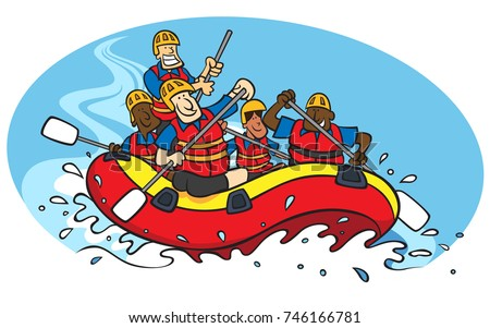 Cartoon Bunch People Whitewater Rafting Stock Illustration 746166781