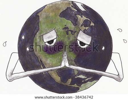 A cartoon of a sick and sweating earth with hands folded in prayer - stock photo