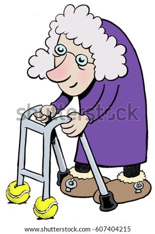 a cartoon of an old lady with a walkerzimmer frame - Zimmer Frame