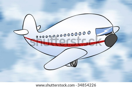 A cartoon passenger jet flying to it's destination. - stock photo